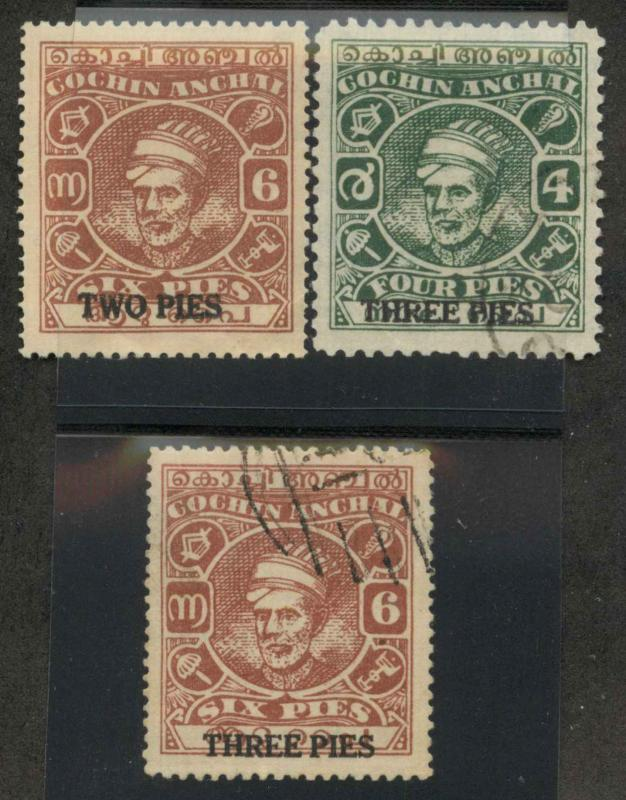 India Cochin 70-72 Used VF (70 mint,  writing on 70,72)