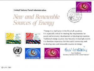 UN SC20 Renewable Energy Souvenir Card Vienna Cancel FDC