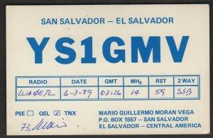 QSL CARD YS1GMV,Mario Guillermo Moran Vega,El Salvador,Central America(Q4516)