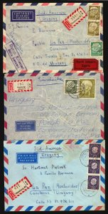 Germany 3 Air mail Covers ca 1960 registered to Uruguay South America Heuss