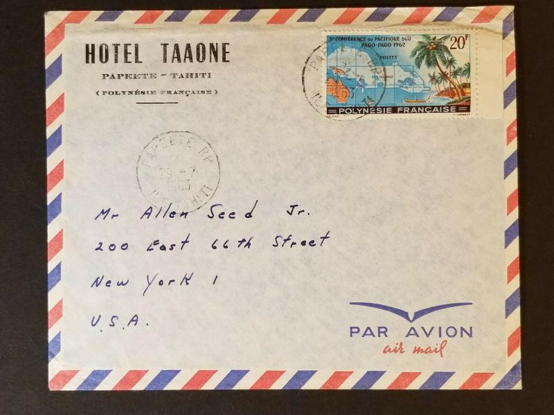 1963 Papeete Tahiti to New York City USA Hotel Taaone Advertising Air Mail Cover