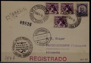Brazil/Germany registered Zeppelin card 9.5.35