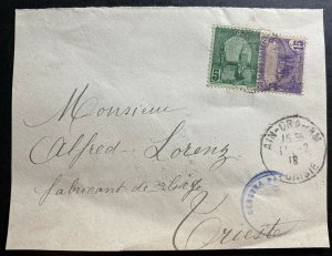 1919 French Tunisia censored Front Cover To Triest Italy Sc#32