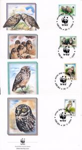 [53590] Aruba 1994 Birds Vögel Oiseaux Ucelli WWF FDC Owls 4 covers