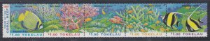 Tokelau # 251a, Year of the Coral Reef, Strip of Five, NH, 1/2 Cat