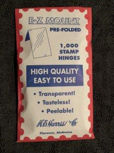 H.E. Harris Prefolded Stamp Hinges E-Z Mount - 1000 Trasparent PRE-FOLDED -- NEW