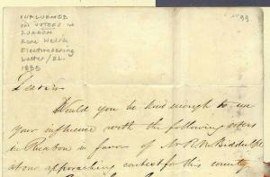 GB WALES ELECTIONEERING Ruabon Cover 1835 Influence on Voters RARE Letter MS3653
