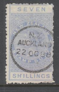 New Zealand Sc AR8, SG F15, used. 1882 7sh ultra QV Postal Fiscal, sound