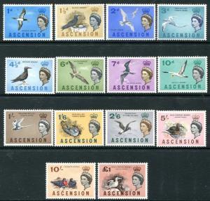 ASCENSION-1963 Birds Set to £1 Sg 70-83 MOUNTED MINT V25898
