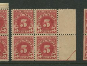 J73 Postage Due Flat Plate Printing Mint Block of 4 Stamps NH (Stk J73-B2)