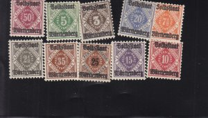 Württemberg: Sc #043-052, Complete, Used (S18326)