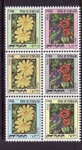 Iraq-Sc#1108a-unused NH booklet pane-Local Flowers-1983-