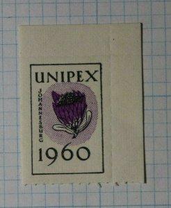 UNIPEX Johannesburg South Africa 1960 Philatelic Souvenir Ad Label