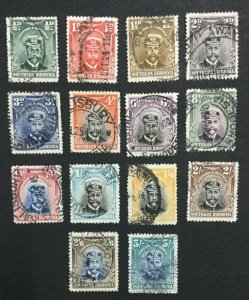 MOMEN: SOUTHERN RHODESIA SG #1-14 1924-29 USED LOT #60018