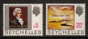 SEYCHELLES SG306/7 1972 ROYAL VISIT MNH