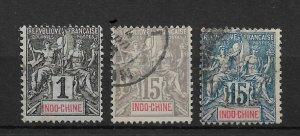Indochina 1892-00, Lot of 3, Scott # 3,10-11, VF USED !! (RONPAT-5)