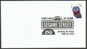 US 5394o Sesame Street Grover BWP FDC 2019