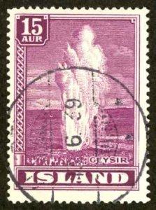 Iceland Sc# 203 Used 1938-1947 15a Geyser