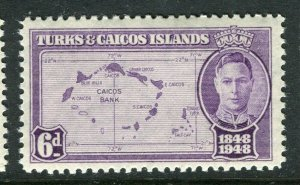 TURKS CAICOS ISLANDS; 1948 early GVI issue fine Mint hinged 6d. value