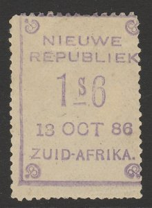 TRANSVAAL - NEW REPUBLIC 1886 (13 Oct) 1s6 (d omitted) violet on yellow paper.