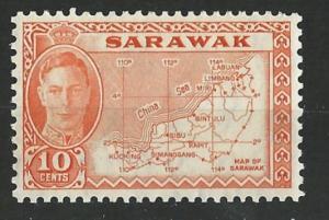 Sarawak # 195 George VI 10c Map   (1)  Mint NH