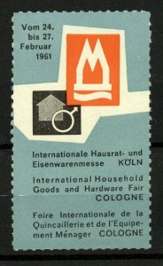 Germany 1961 Cologne International Household Goods and Hardware Fair Label