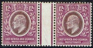 EAST AFRICA & UGANDA 1907 KEVII 12C GUTTER PAIR