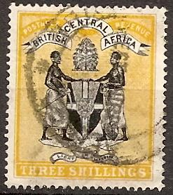 Br.Central Africa  27 Used 1895 3sh Overprint CV $60.00