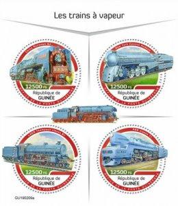 GUINEA - 2019 - Steam Trains - Perf 4v Sheet - M N H