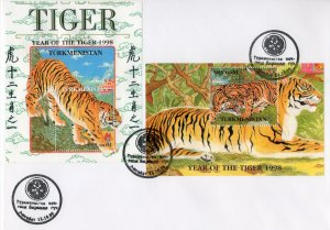 Turkmenistan 1998 YT#Bl.17/18 YEAR OF THE TIGER CHINESE NEW YEAR 2 S/S Perf.FDC