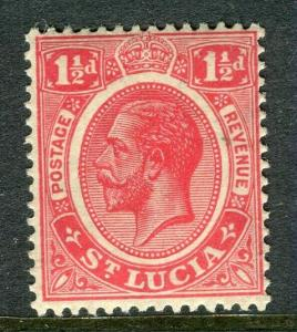ST.LUCIA; 1921 early GV issue fine Mint hinged Shade of 1.5d. value