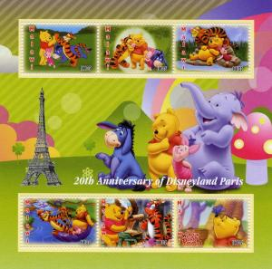 Malawi 2012  Winnie The Pooh  20th.Ann.Disneyland Paris Shlt(6) Perforated