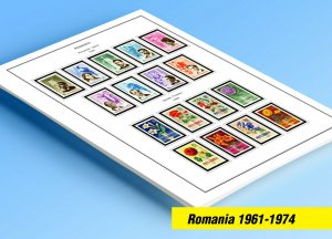 COLOR PRINTED ROMANIA 1961-1974 STAMP ALBUM PAGES (128 illustrated pages)