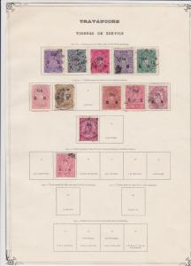 india states travancore stamps on 1 album page ref 13411