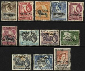 KUT OFFICIAL SGO1/O12 Set of 12 Fine Used (20c perf faults) Cat 35 pounds