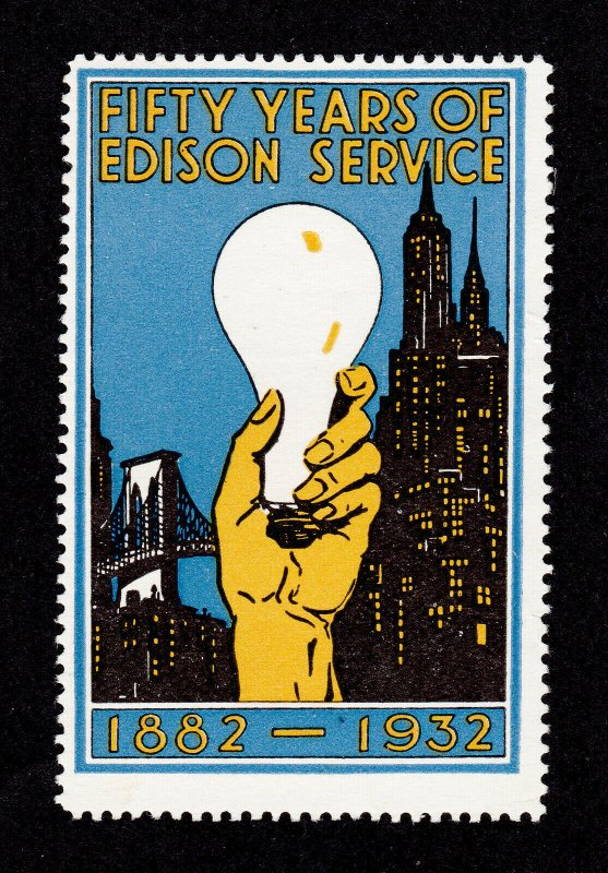 POSTER STAMP 50 YEARS OF EDISON SERVICE 1882-1932 MNG