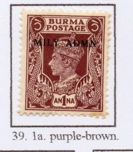Burma 1945 British Military Early Issue Fine Mint Hinged 1a. Optd 228513