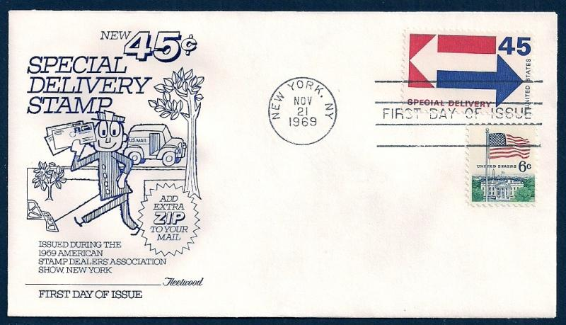 UNITED STATES FDC 45¢ Special Delivery 1969 Fleetwood