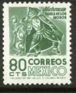 MEXICO 1094, 80¢ 1950 Defin 9th Issue Unwmkd Fosfo Coated. MINT, NH. VF.