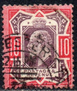 1902 Sg 254 M42/1 10d dull purple and carmine Manchester Sta Late Box Hooded Cx
