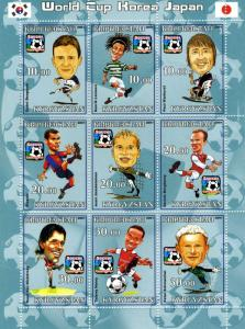 Kyrgyzstan 2001 SOCCER PLAYERS CARICATURE Sheet (9) Perforated Mint (NH)