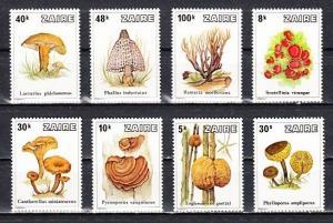 Zaire, Scott cat. 910-917. Mushrooms issue. ^