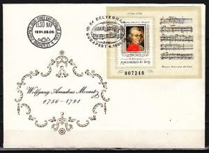 Hungary, Scott cat. 3311. Composer W. A. Mozart s/sheet. First day cover. ^