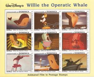 Dominica - 1993 Disney Willie the Operatic Whale - 9 Stamp Sheet #1631 4c-027