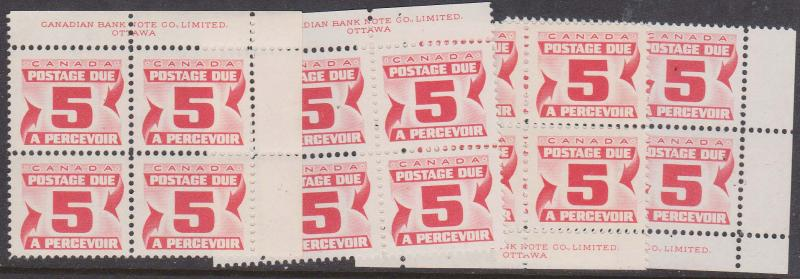 Canada - 1967 5c Postage Due Very Dull Paper Blocks  VF-NH #J25i