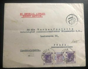 1939 Hong Kong Commercial Cover To Prague Czechoslovakia Imperial Airways