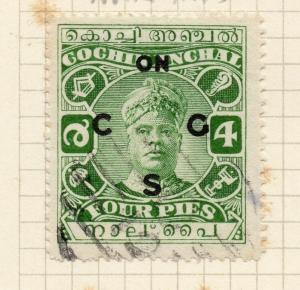 India Cochin 1940s Official Early Issue Fine Used 4p. Optd 200341