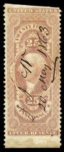 B374 U.S. Revenue Scott R46b 25c Insurance part perforate, 1863 manuscript cxl