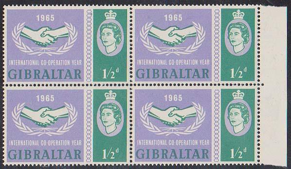 Gibraltar - 1/2d Intl. Co-op Year Block of 4 w VARIETY VF-NH