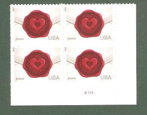 4741 Sealed With Love Plate Block Mint/nh FREE SHIPPING